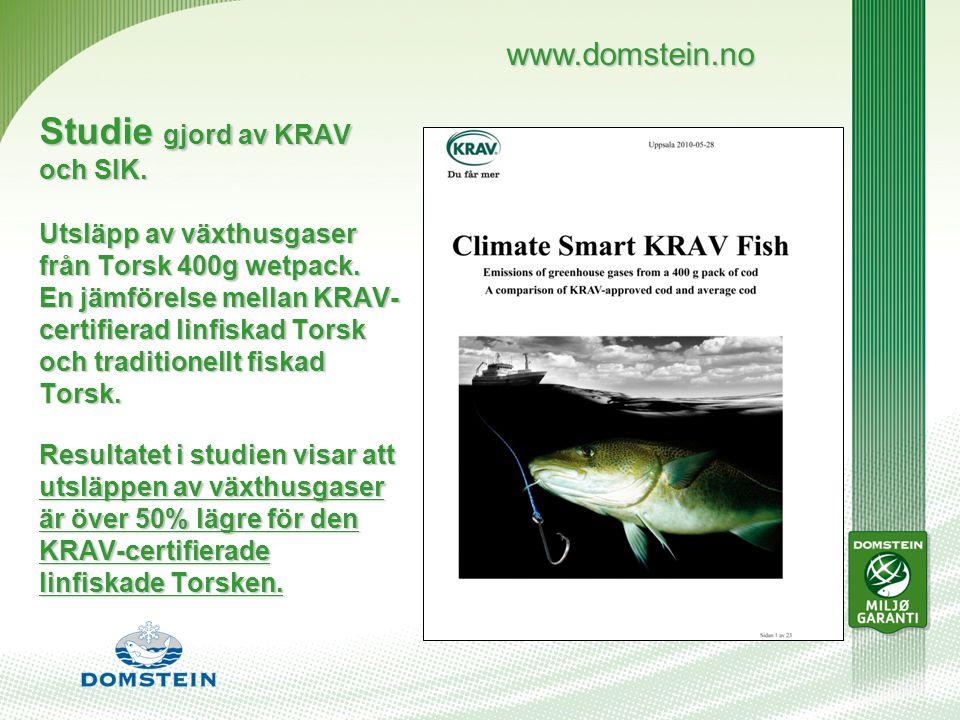 Studie gjord av KRAV och SIK. Utsläpp av växthusgaser från Torsk 400g wetpack.
