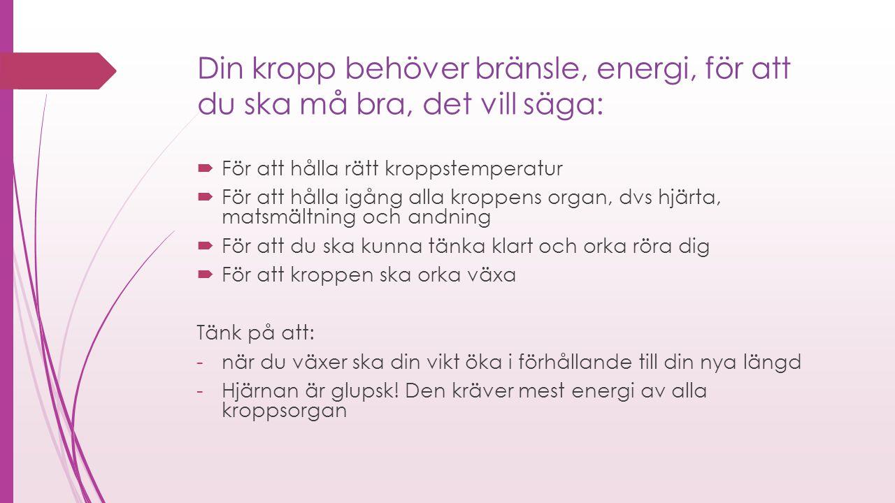 Din kropp behöver bränsle, energi, för att du ska må bra, det vill säga:  För att hålla rätt kroppstemperatur  För att hålla igång alla kroppens org