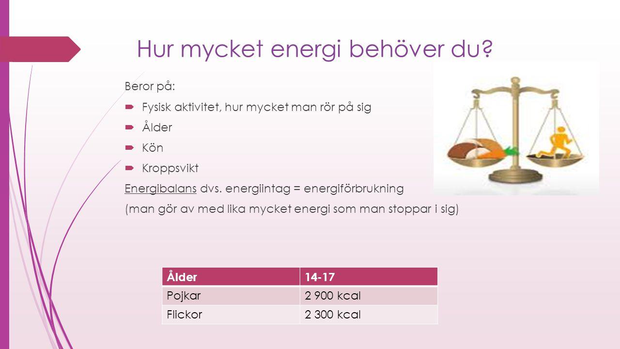 Hur mycket energi behöver du? Beror på:  Fysisk aktivitet, hur mycket man rör på sig  Ålder  Kön  Kroppsvikt Energibalans dvs. energiintag = energ