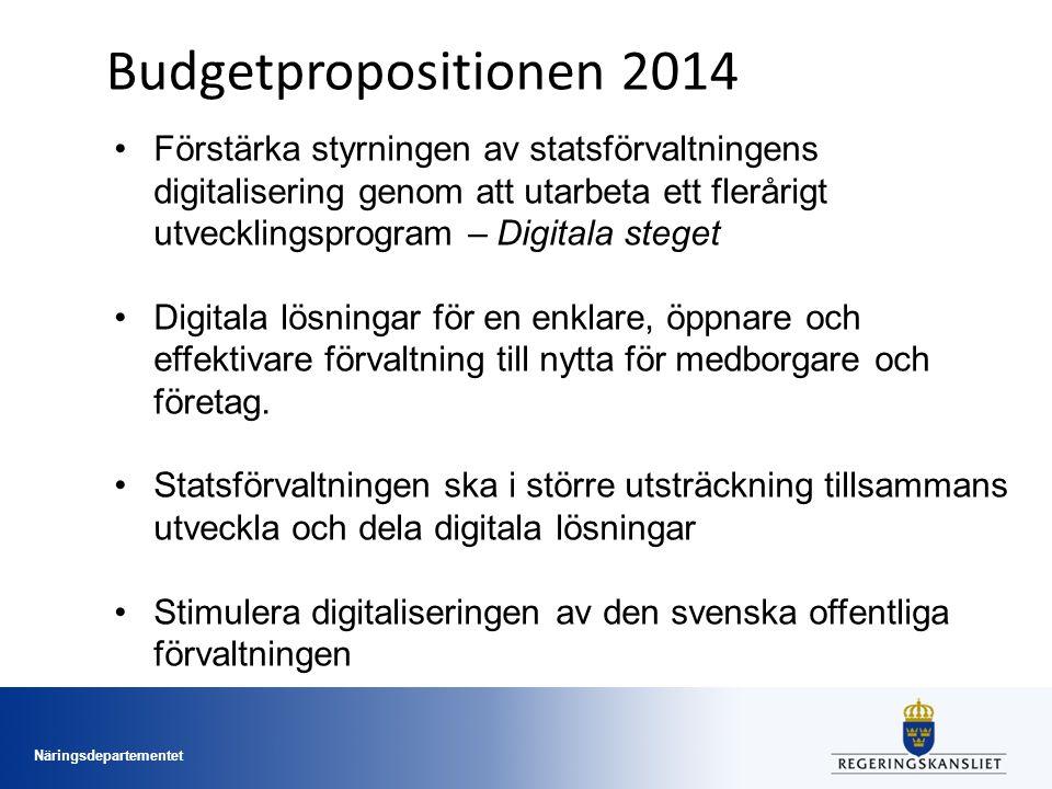 Näringsdepartementet Budgetpropositionen 2014 Förstärka styrningen av statsförvaltningens digitalisering genom att utarbeta ett flerårigt utvecklingsprogram – Digitala steget Digitala lösningar för en enklare, öppnare och effektivare förvaltning till nytta för medborgare och företag.