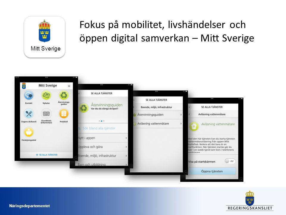 Näringsdepartementet Mitt Sverige Fokus på mobilitet, livshändelser och öppen digital samverkan – Mitt Sverige