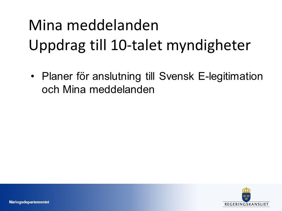 Näringsdepartementet Mina meddelanden Uppdrag till 10-talet myndigheter Planer för anslutning till Svensk E-legitimation och Mina meddelanden