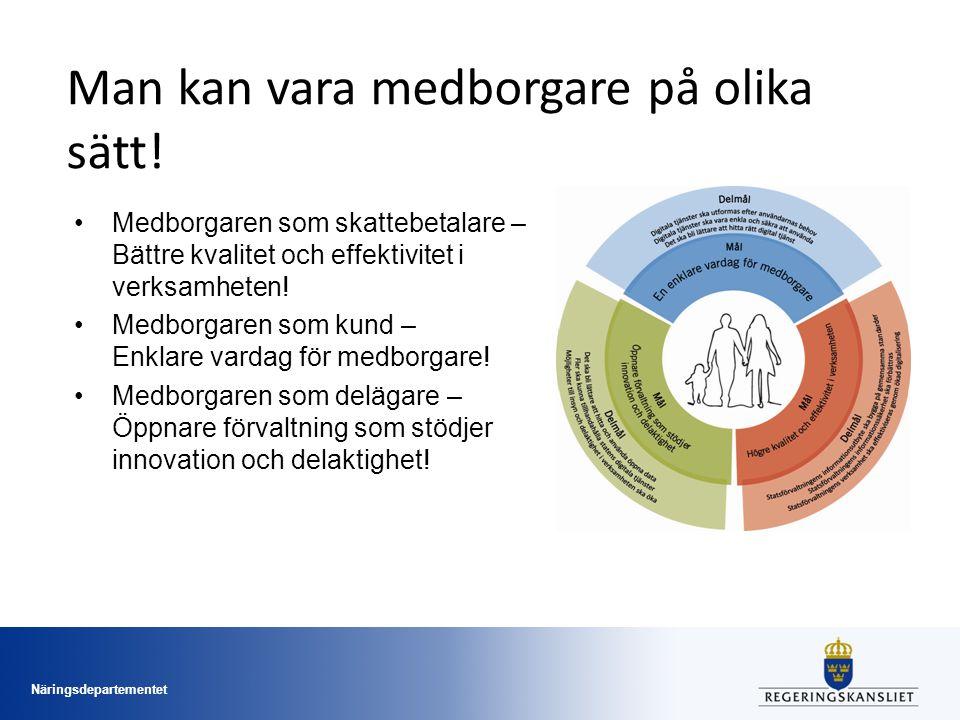 Näringsdepartementet Man kan vara medborgare på olika sätt! Medborgaren som skattebetalare – Bättre kvalitet och effektivitet i verksamheten! Medborga
