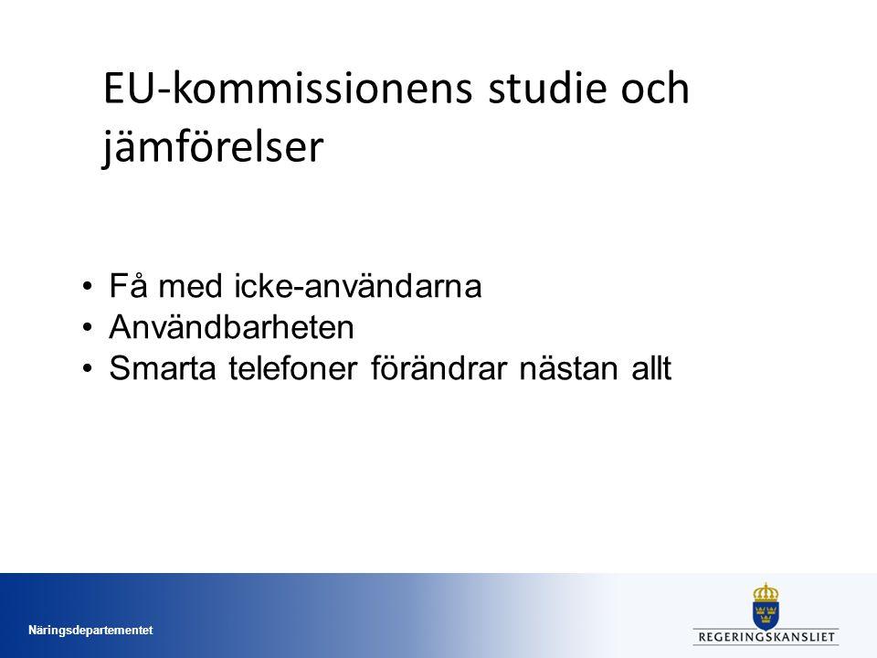 Näringsdepartementet EU-kommissionens studie och jämförelser Få med icke-användarna Användbarheten Smarta telefoner förändrar nästan allt