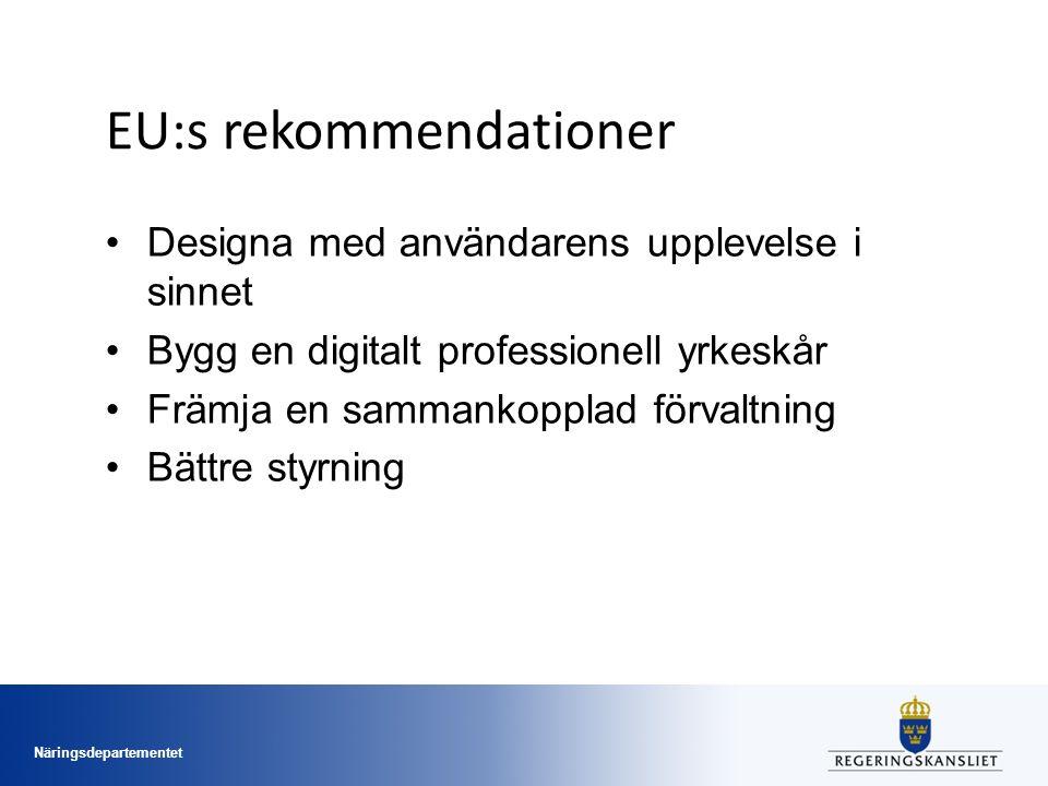 Näringsdepartementet EU:s rekommendationer Designa med användarens upplevelse i sinnet Bygg en digitalt professionell yrkeskår Främja en sammankopplad förvaltning Bättre styrning