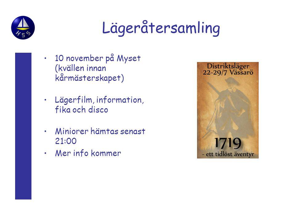 Lägeråtersamling 10 november på Myset (kvällen innan kårmästerskapet) Lägerfilm, information, fika och disco Miniorer hämtas senast 21:00 Mer info kommer