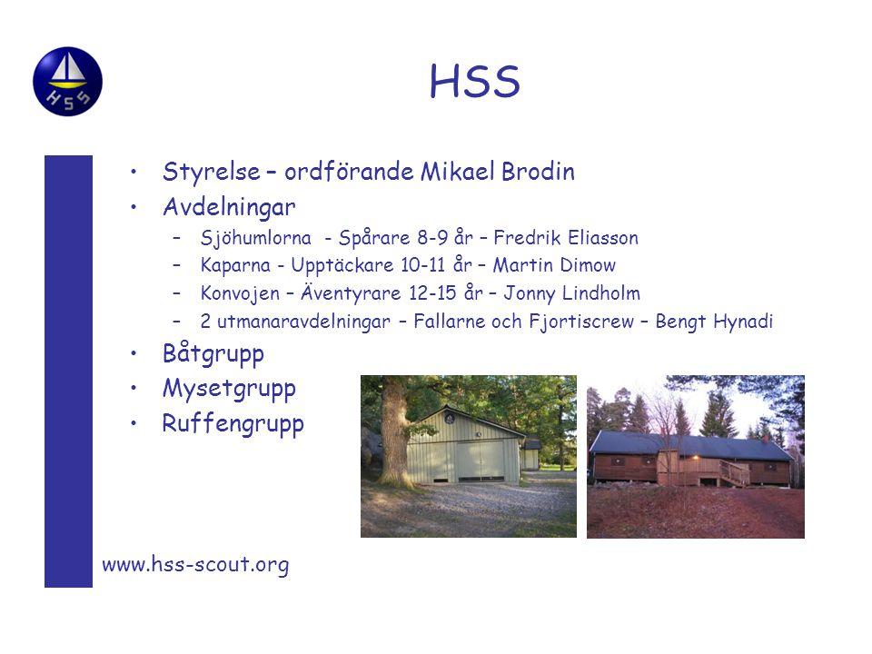 HSS Styrelse – ordförande Mikael Brodin Avdelningar –Sjöhumlorna - Spårare 8-9 år – Fredrik Eliasson –Kaparna - Upptäckare 10-11 år – Martin Dimow –Ko