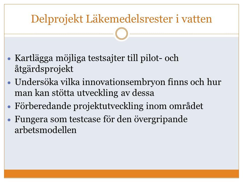 Delprojekt Läkemedelsrester i vatten  Kartlägga möjliga testsajter till pilot- och åtgärdsprojekt  Undersöka vilka innovationsembryon finns och hur