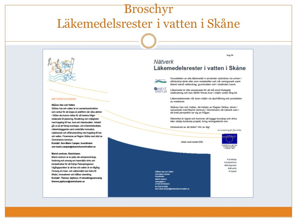 Broschyr Läkemedelsrester i vatten i Skåne