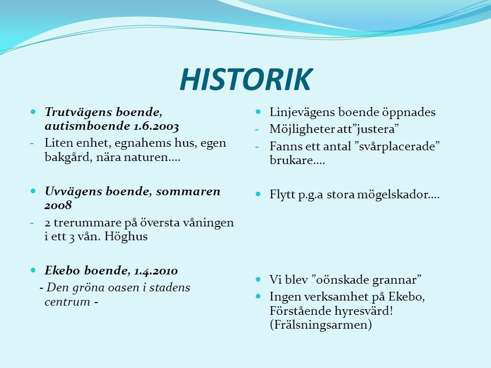 HISTORIK Trutvägens boende, autismboende 1.6.2003 - Liten enhet, egnahems hus, egen bakgård, nära naturen….