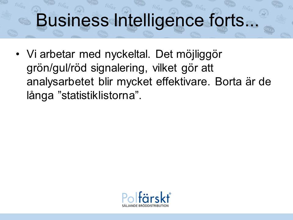 Business Intelligence forts... Vi arbetar med nyckeltal. Det möjliggör grön/gul/röd signalering, vilket gör att analysarbetet blir mycket effektivare.