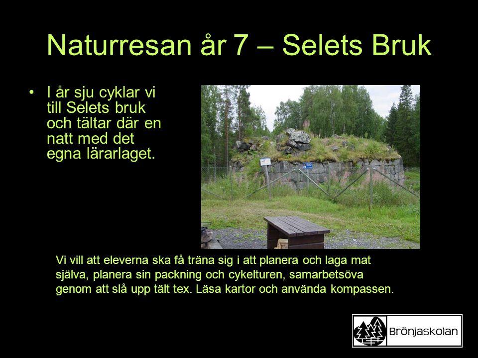 Naturresan år 7 – Selets Bruk I år sju cyklar vi till Selets bruk och tältar där en natt med det egna lärarlaget. Vi vill att eleverna ska få träna si