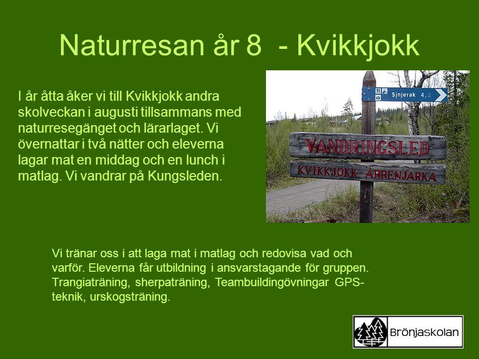 Naturresan år 8 - Kvikkjokk I år åtta åker vi till Kvikkjokk andra skolveckan i augusti tillsammans med naturresegänget och lärarlaget. Vi övernattar
