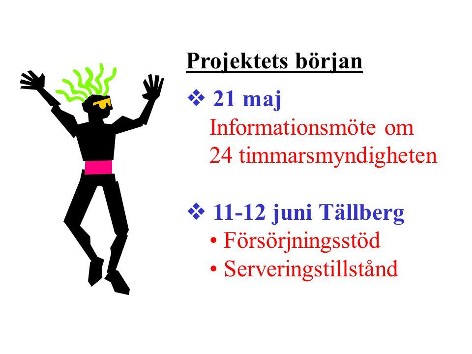 Projektets början  21 maj Informationsmöte om 24 timmarsmyndigheten  11-12 juni Tällberg Försörjningsstöd Serveringstillstånd