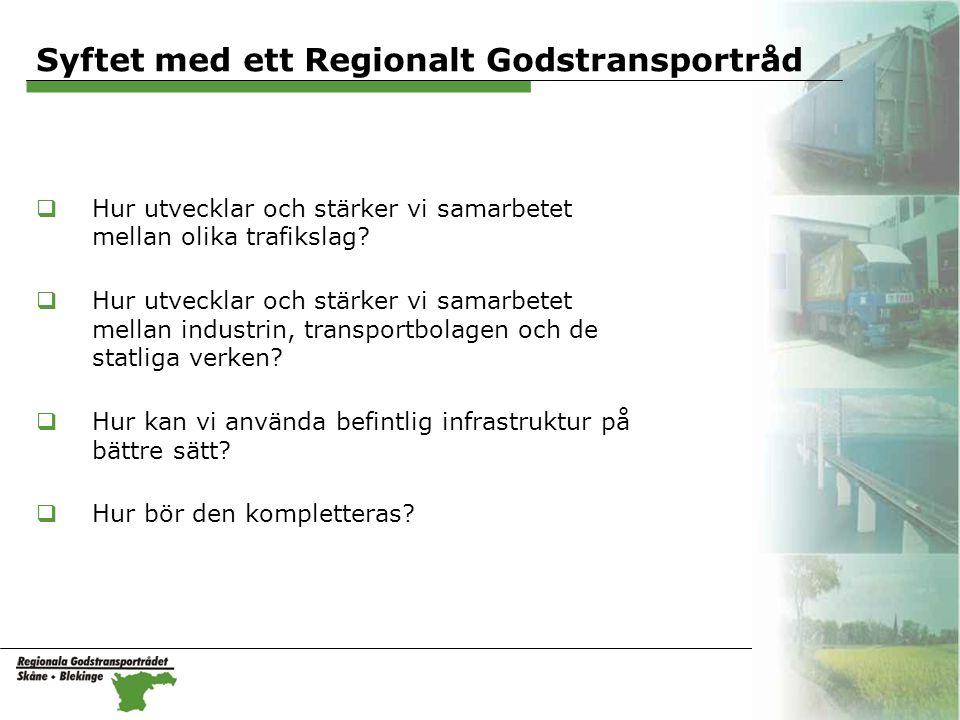 Syftet med ett Regionalt Godstransportråd  Hur utvecklar och stärker vi samarbetet mellan olika trafikslag.