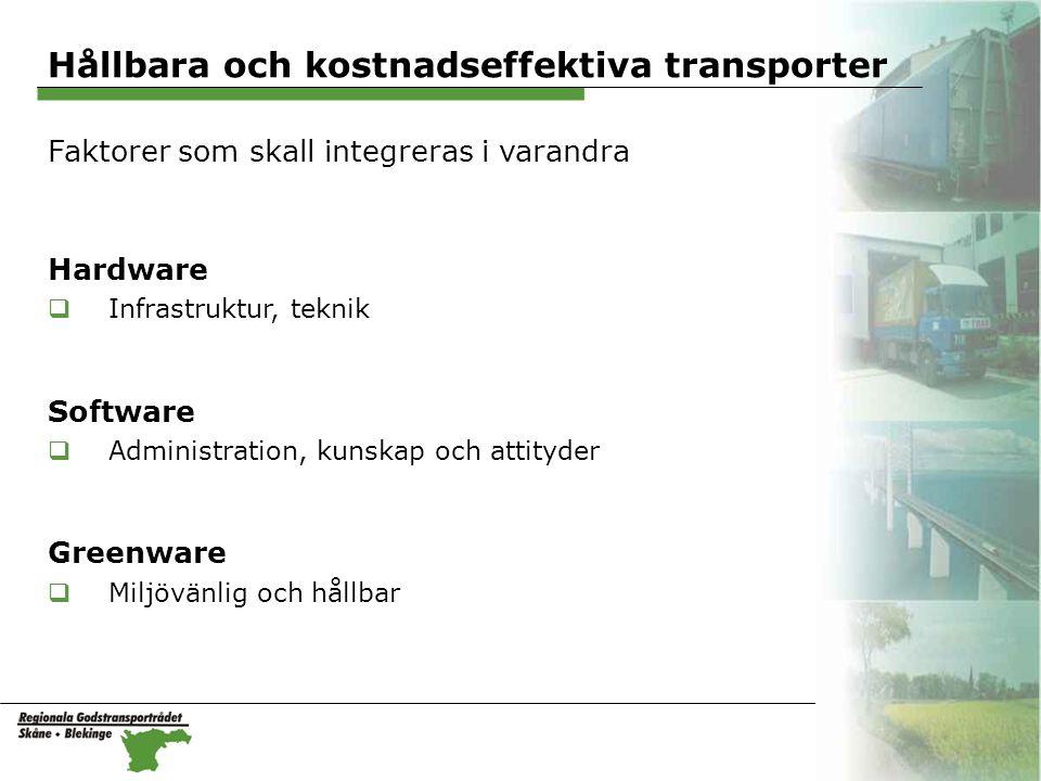 Hållbara och kostnadseffektiva transporter Faktorer som skall integreras i varandra Hardware  Infrastruktur, teknik Software  Administration, kunskap och attityder Greenware  Miljövänlig och hållbar