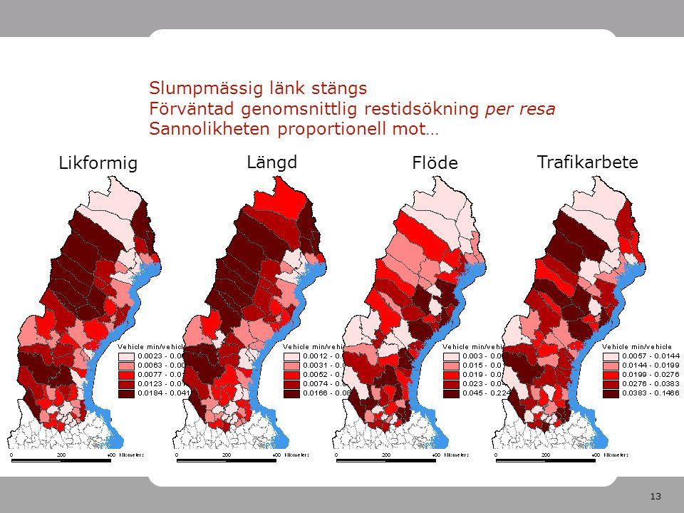 13 Slumpmässig länk stängs Förväntad genomsnittlig restidsökning per resa Sannolikheten proportionell mot… Likformig Längd Flöde Trafikarbete