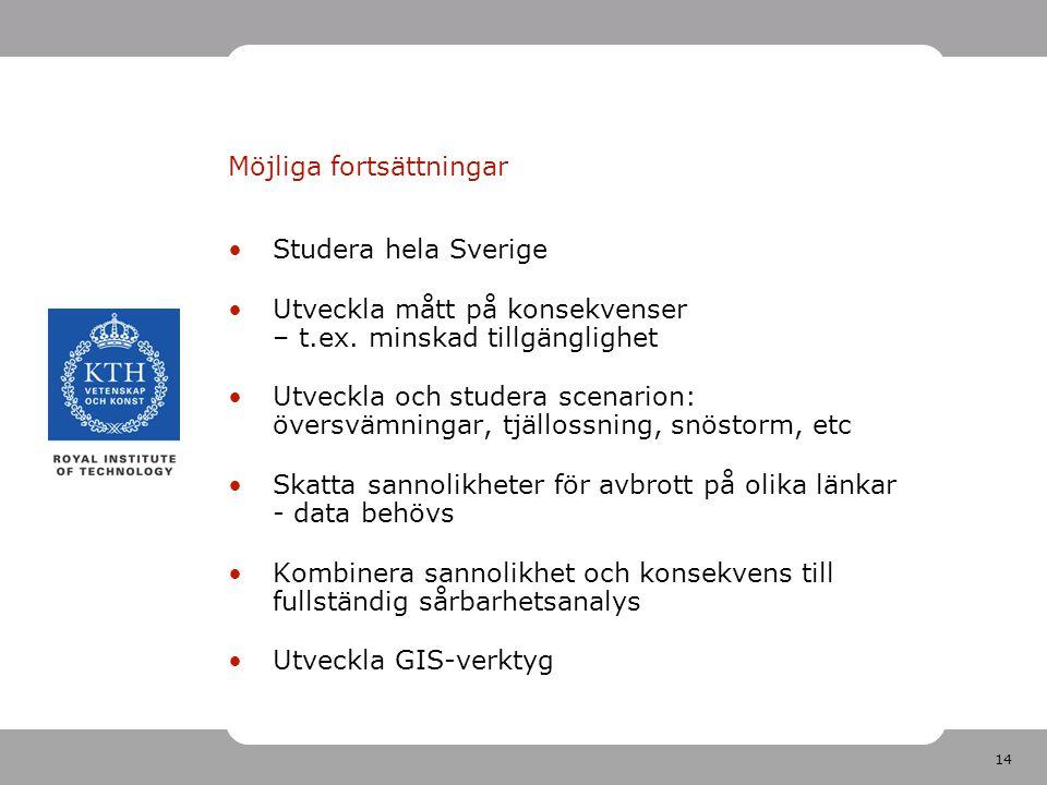 14 Möjliga fortsättningar Studera hela Sverige Utveckla mått på konsekvenser – t.ex. minskad tillgänglighet Utveckla och studera scenarion: översvämni
