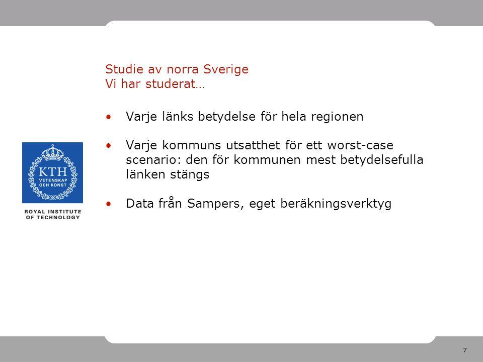 7 Studie av norra Sverige Vi har studerat… Varje länks betydelse för hela regionen Varje kommuns utsatthet för ett worst-case scenario: den för kommunen mest betydelsefulla länken stängs Data från Sampers, eget beräkningsverktyg