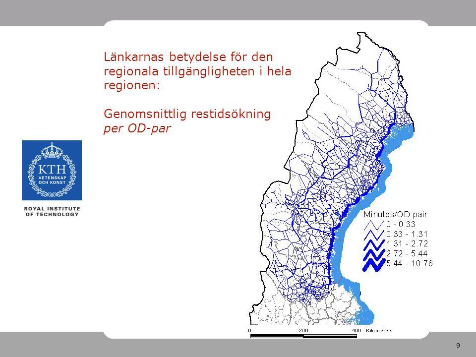 9 Länkarnas betydelse för den regionala tillgängligheten i hela regionen: Genomsnittlig restidsökning per OD-par