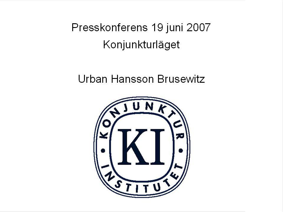 Konjunkturläget Juni 2007 Konsumentpriser Årlig procentuell förändring, kvartalsvärden