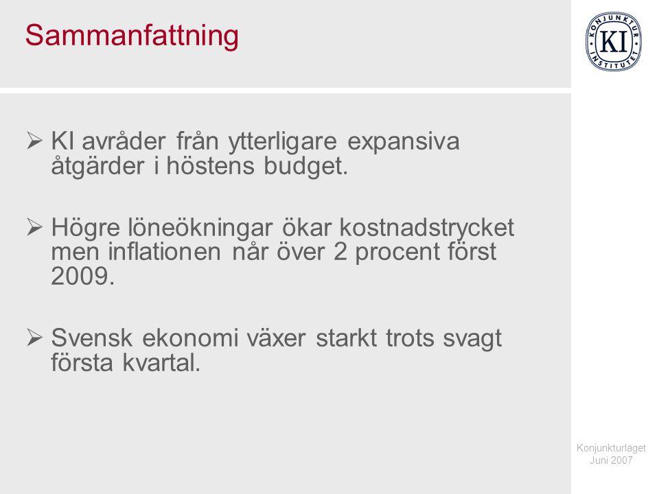 Konjunkturläget Juni 2007 Sammanfattning  KI avråder från ytterligare expansiva åtgärder i höstens budget.