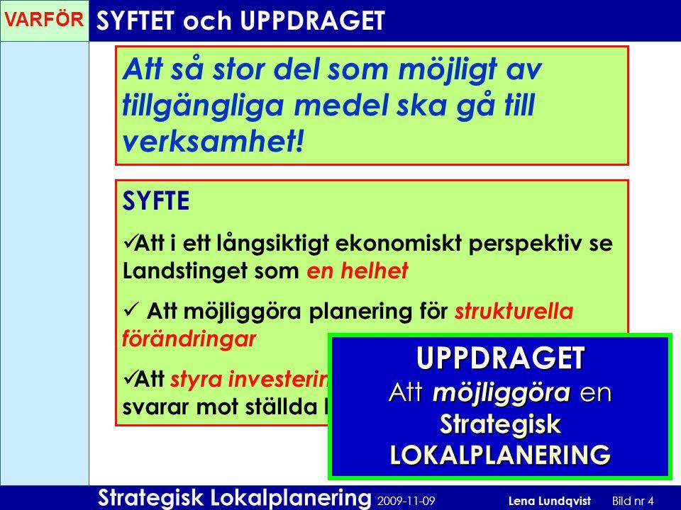 Strategisk Lokalplanering 2009-11-09 Lena Lundqvist Bild nr 5 Vi behöver hitta sätt att skapa: LÅNGSIKTIGHET FLEXIBILITET EKONOMISK HÅLLBARHET GENERALITET TYDLIGA RIKTLINJER… YTEFFEKTIVA lokaler TIDSVINST, att effektivisera processen i tidigt skede EN ENHETLIG UTFORMNING av lokalerna Större möjligheter till SAMARBETE MELLAN VERKSAMHETER FLEXIBLA lokaler som kan anpassas vid förändring Lokaler för NUTIDA VÅRDMETODER och med UTVECKLINGSPOTENTIAL för framtida utvecklingar TEKNISKA SYSTEM som klarar förändring av verksamhet MÅL Landstinget hjälper alla att vara friska och må bra… Landstinget skapar förutsättningar för ett gott liv i länet… Hälso- och sjukvården ska vara lättillgänglig och ges på lika villkor… VARFÖR