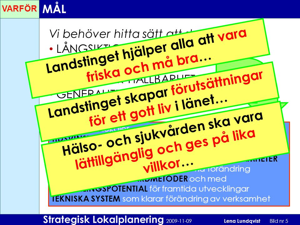 Strategisk Lokalplanering 2009-11-09 Lena Lundqvist Bild nr 5 Vi behöver hitta sätt att skapa: LÅNGSIKTIGHET FLEXIBILITET EKONOMISK HÅLLBARHET GENERAL