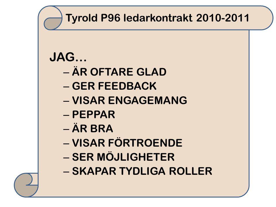 Tyrold P96 ledarkontrakt 2010-2011 JAG… – ÄR OFTARE GLAD – GER FEEDBACK – VISAR ENGAGEMANG – PEPPAR – ÄR BRA – VISAR FÖRTROENDE – SER MÖJLIGHETER – SKAPAR TYDLIGA ROLLER