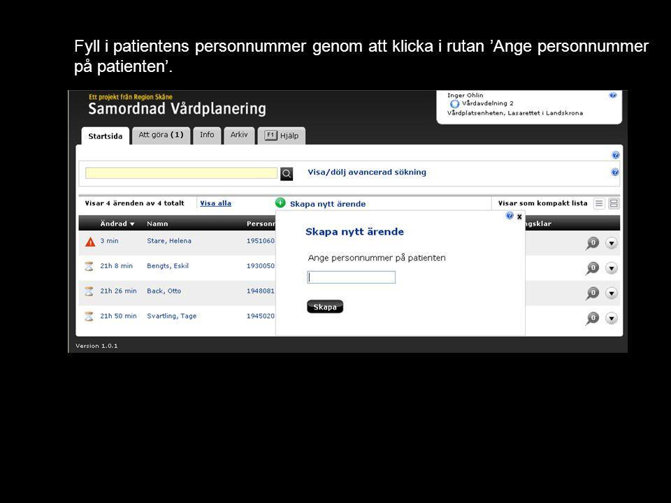 Version 1.1 Personnumret är nu ifyllt. Klicka 'Skapa'.