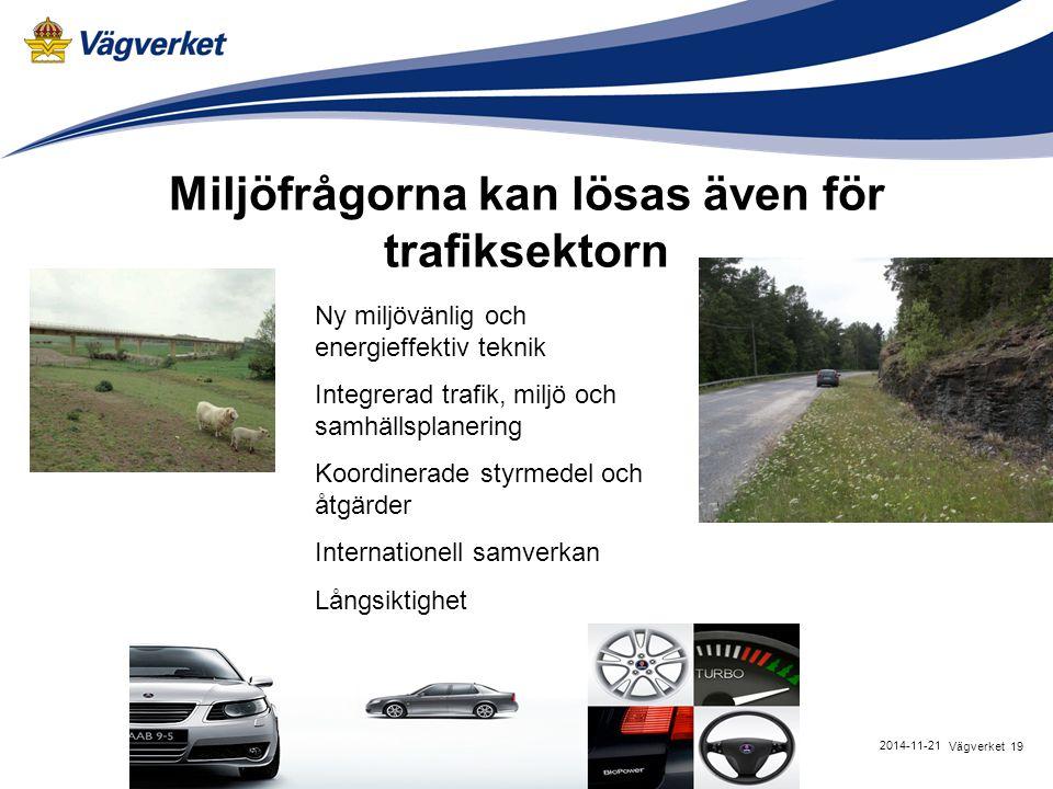 19Vägverket 2014-11-21 Miljöfrågorna kan lösas även för trafiksektorn Ny miljövänlig och energieffektiv teknik Integrerad trafik, miljö och samhällspl