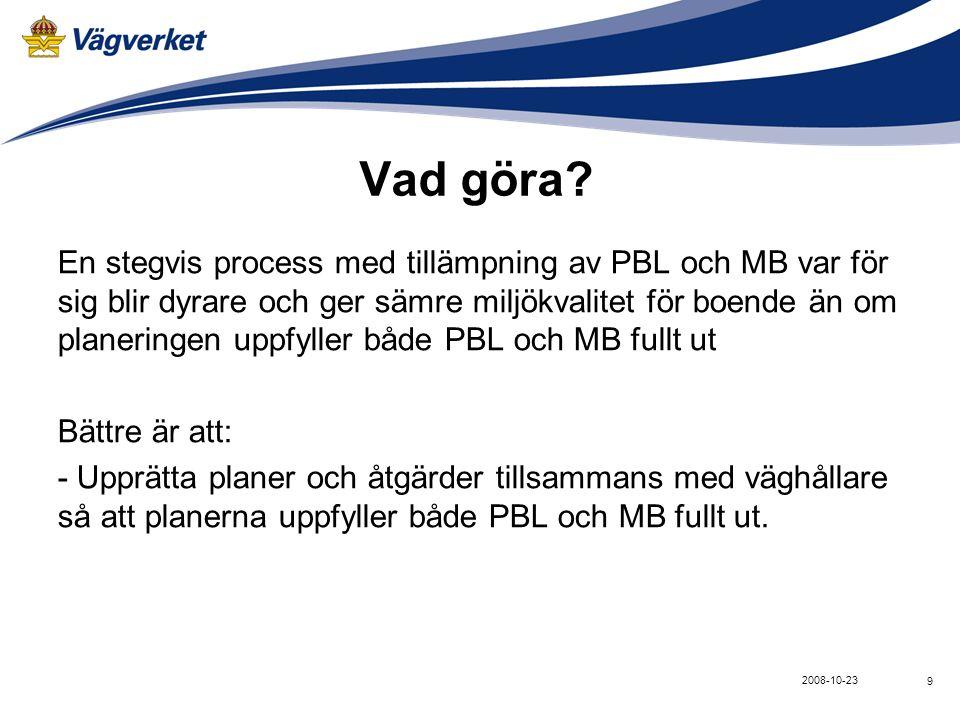 9 2008-10-23 Vad göra? En stegvis process med tillämpning av PBL och MB var för sig blir dyrare och ger sämre miljökvalitet för boende än om planering