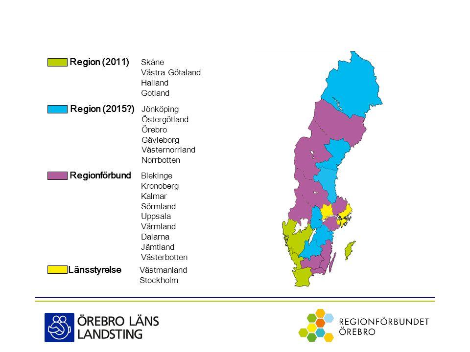 Region (2011) Skåne Västra Götaland Halland Gotland Region (2015?) Jönköping Östergötland Örebro Gävleborg Västernorrland Norrbotten Regionförbund Blekinge Kronoberg Kalmar Sörmland Uppsala Värmland Dalarna Jämtland Västerbotten Länsstyrelse Västmanland Stockholm