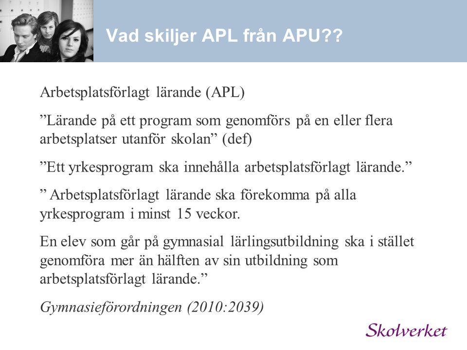 """Vad skiljer APL från APU?? Arbetsplatsförlagt lärande (APL) """"Lärande på ett program som genomförs på en eller flera arbetsplatser utanför skolan"""" (def"""