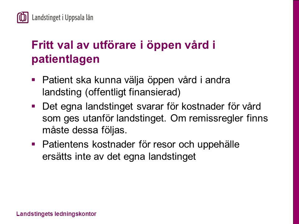 Landstingets ledningskontor Fritt val av utförare i öppen vård i patientlagen  Patient ska kunna välja öppen vård i andra landsting (offentligt finan