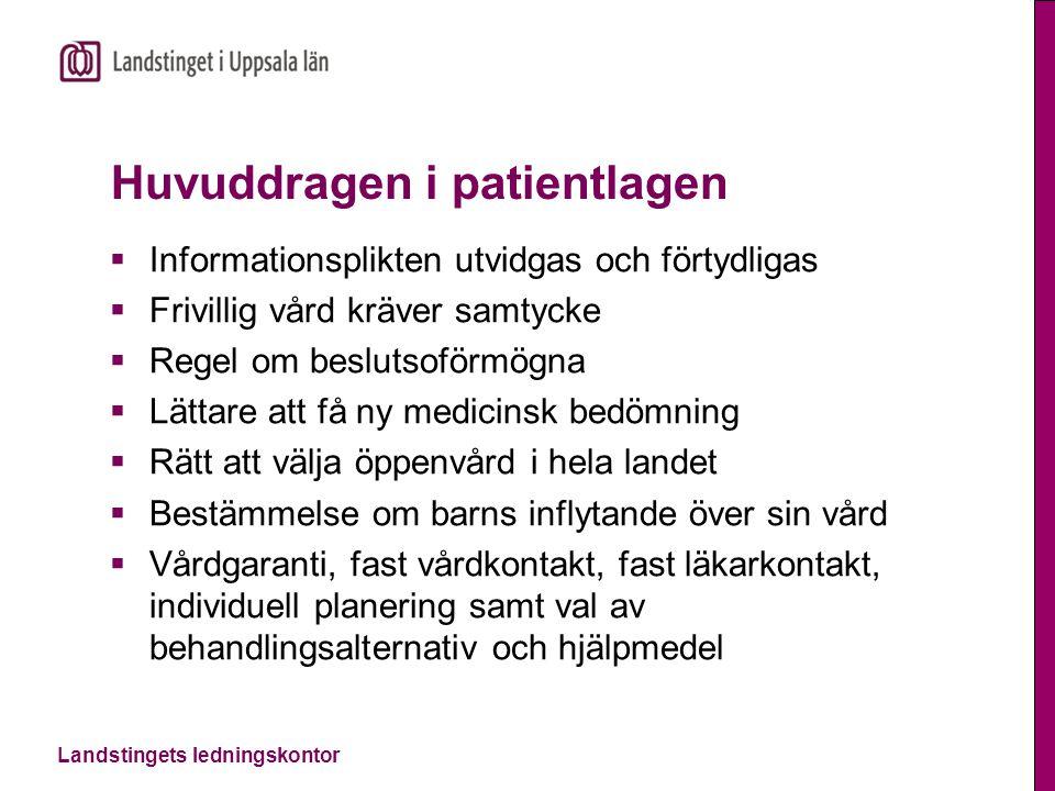 Landstingets ledningskontor Huvuddragen i patientlagen  Informationsplikten utvidgas och förtydligas  Frivillig vård kräver samtycke  Regel om besl