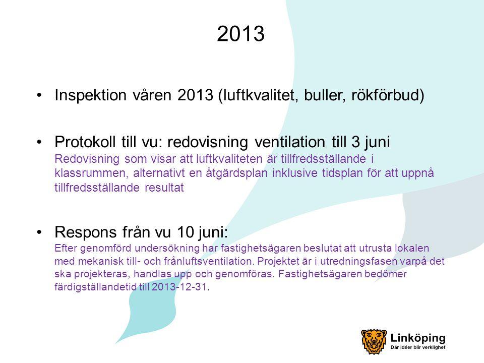 2013 Inspektion våren 2013 (luftkvalitet, buller, rökförbud) Protokoll till vu: redovisning ventilation till 3 juni Redovisning som visar att luftkval