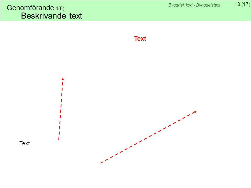 13(17) Byggdel: kod - Byggdelstext Genomförande 4(5) Beskrivande text Text