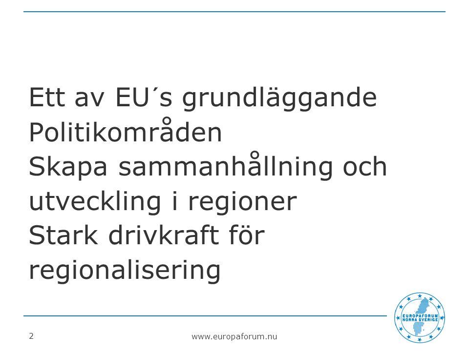 www.europaforum.nu 2 Ett av EU´s grundläggande Politikområden Skapa sammanhållning och utveckling i regioner Stark drivkraft för regionalisering