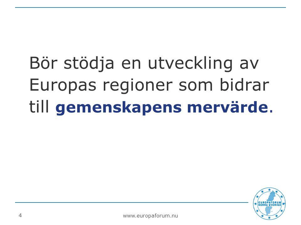 www.europaforum.nu 5 Ska ge möjligheter till lika utveckling i samtliga regioner i Europa och förutsätter samspel mellan stad och landsbygd.
