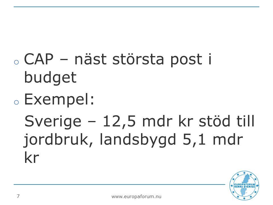 www.europaforum.nu 8 Ny syn på gröna näringar Matlandet, turism, energi, miljö.