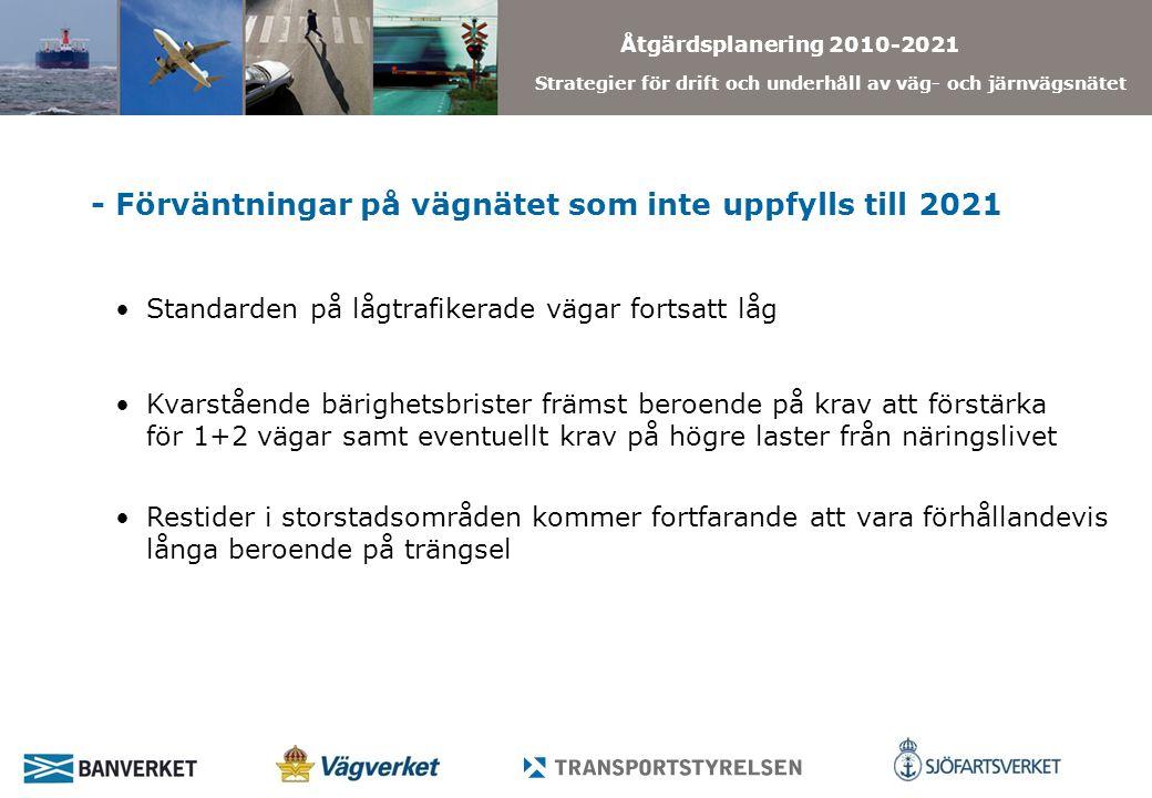 Åtgärdsplanering 2010-2021 Strategier för drift och underhåll av väg- och järnvägsnätet - Förväntningar på vägnätet som inte uppfylls till 2021 Standarden på lågtrafikerade vägar fortsatt låg Restider i storstadsområden kommer fortfarande att vara förhållandevis långa beroende på trängsel Kvarstående bärighetsbrister främst beroende på krav att förstärka för 1+2 vägar samt eventuellt krav på högre laster från näringslivet