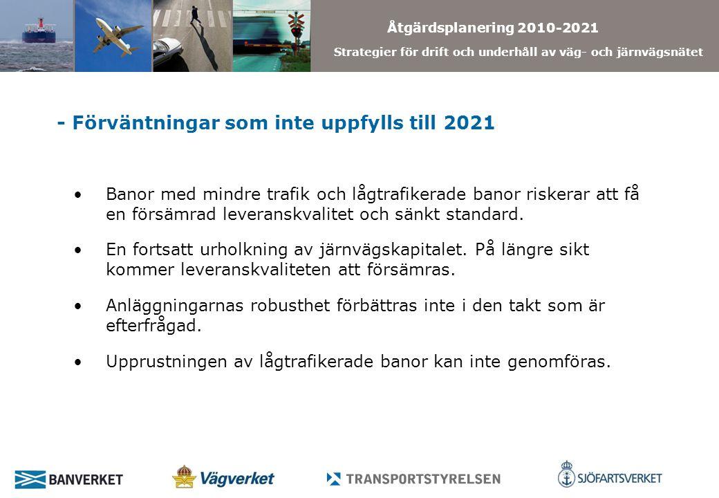 Åtgärdsplanering 2010-2021 Strategier för drift och underhåll av väg- och järnvägsnätet - Förväntningar som inte uppfylls till 2021 Banor med mindre trafik och lågtrafikerade banor riskerar att få en försämrad leveranskvalitet och sänkt standard.