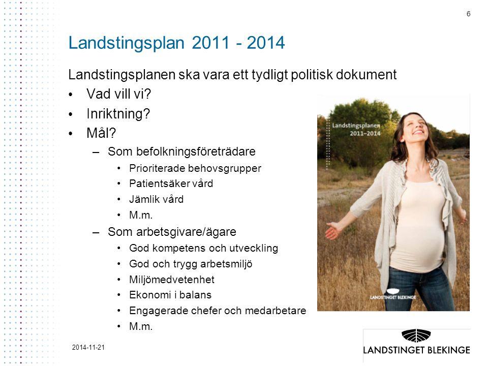 6 Landstingsplan 2011 - 2014 Landstingsplanen ska vara ett tydligt politisk dokument Vad vill vi? Inriktning? Mål? –Som befolkningsföreträdare Priorit