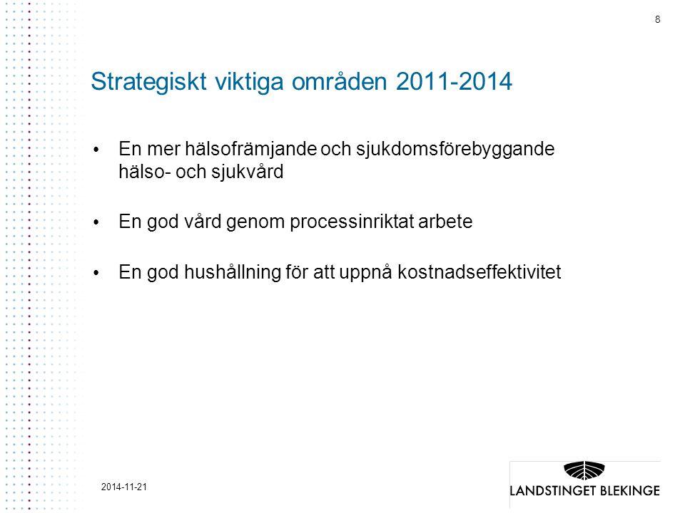 8 2014-11-21 Strategiskt viktiga områden 2011-2014 En mer hälsofrämjande och sjukdomsförebyggande hälso- och sjukvård En god vård genom processinriktat arbete En god hushållning för att uppnå kostnadseffektivitet