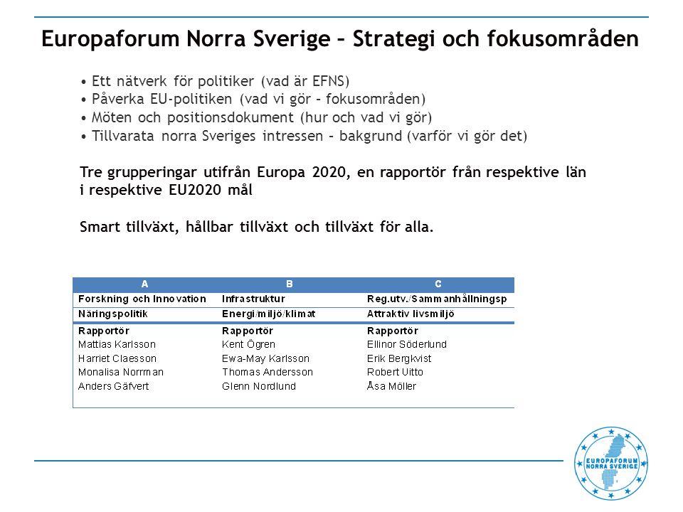 Europaforum Norra Sverige – Strategi och fokusområden Ett nätverk för politiker (vad är EFNS) Påverka EU-politiken (vad vi gör – fokusområden) Möten och positionsdokument (hur och vad vi gör) Tillvarata norra Sveriges intressen – bakgrund (varför vi gör det) Tre grupperingar utifrån Europa 2020, en rapportör från respektive län i respektive EU2020 mål Smart tillväxt, hållbar tillväxt och tillväxt för alla.