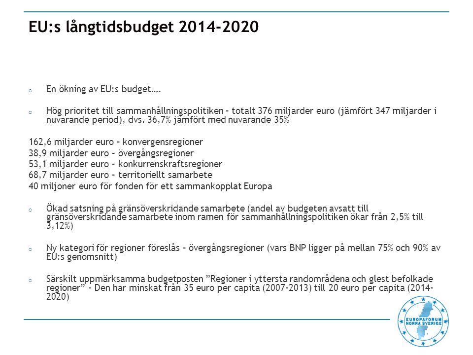 EU:s långtidsbudget 2014-2020 o En ökning av EU:s budget….