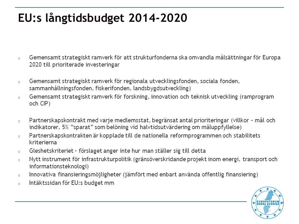 EU:s långtidsbudget 2014-2020 o Gemensamt strategiskt ramverk för att strukturfonderna ska omvandla målsättningar för Europa 2020 till prioriterade investeringar o Gemensamt strategiskt ramverk för regionala utvecklingsfonden, sociala fonden, sammanhållningsfonden, fiskerifonden, landsbygdsutveckling) o Gemensamt strategiskt ramverk för forskning, innovation och teknisk utveckling (ramprogram och CIP) o Partnerskapskontrakt med varje medlemsstat, begränsat antal prioriteringar (villkor – mål och indikatorer, 5% sparat som belöning vid halvtidsutvärdering om måluppfyllelse) o Partnerskapskontrakten är kopplade till de nationella reformprogrammen och stabilitets kriterierna o Gleshetskriteriet – förslaget anger inte hur man ställer sig till detta o Nytt instrument för infrastrukturpolitik (gränsöverskridande projekt inom energi, transport och informationsteknologi) o Innovativa finansieringsmöjligheter (jämfört med enbart använda offentlig finansiering) o Intäktssidan för EU:s budget mm
