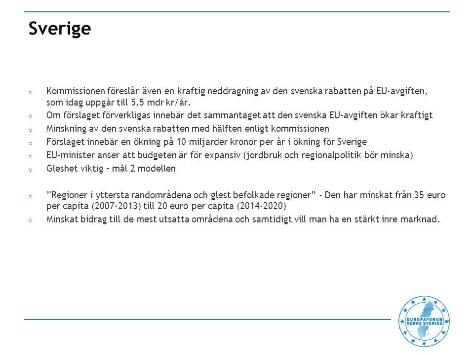 Sverige o Kommissionen föreslår även en kraftig neddragning av den svenska rabatten på EU-avgiften, som idag uppgår till 5,5 mdr kr/år.
