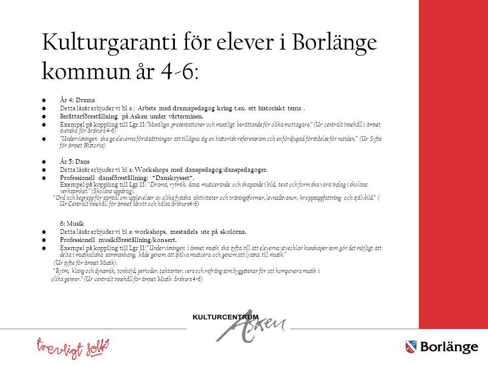 Kulturgaranti för elever i Borlänge kommun år 4-6: År 4: Drama Detta läsår erbjuder vi bl a.: Arbete med dramapedagog kring t.ex. ett historiskt tema.